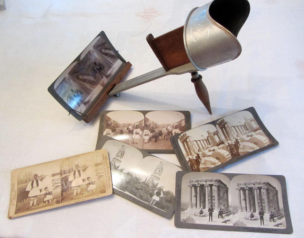 Stereoviewer: Looking through this device, the images become one, 3D image.